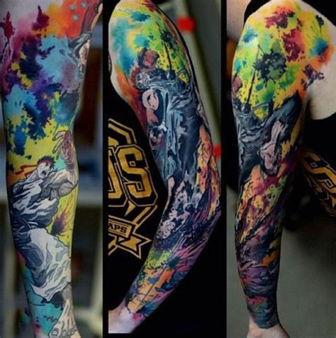 watercolor tattoo que es watercolor sleeve tattoos 0