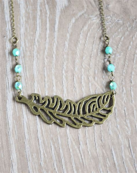 bohemian jewelry feather bohemian necklace boho jewelry mint