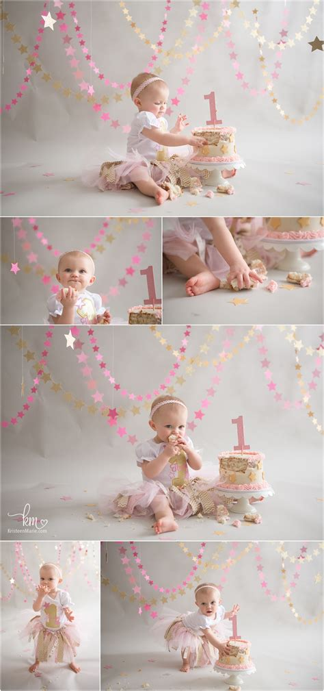 Pink Goldle Little Star St  Ee  Birthday Ee   Cake Smash