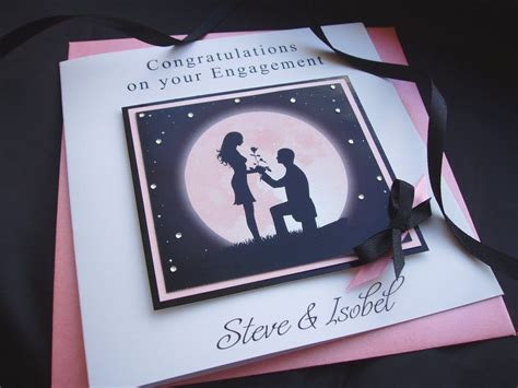 Engagement Handmade Cards - handmade engagement card moon handmade cards pink posh