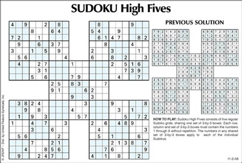 printable sudoku high fives andrews mcmeel syndication home