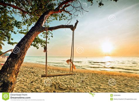 sunset swings reviews swing on sunset at the beach stock image image 22365969