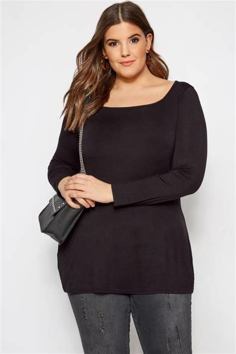 limited out 3 days in row plus size limited collection black square neck jersey top