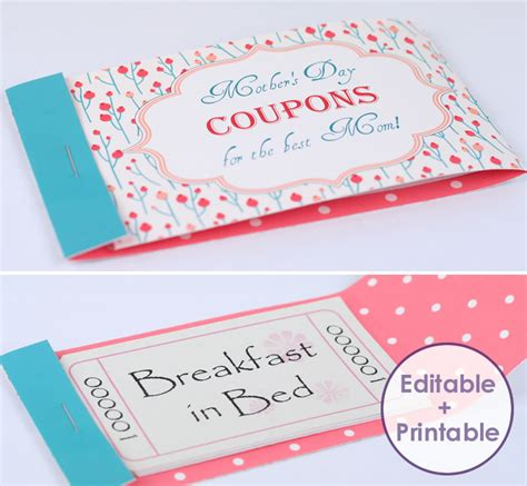 custom coupon book template mothers day coupon booklets to personalize and print