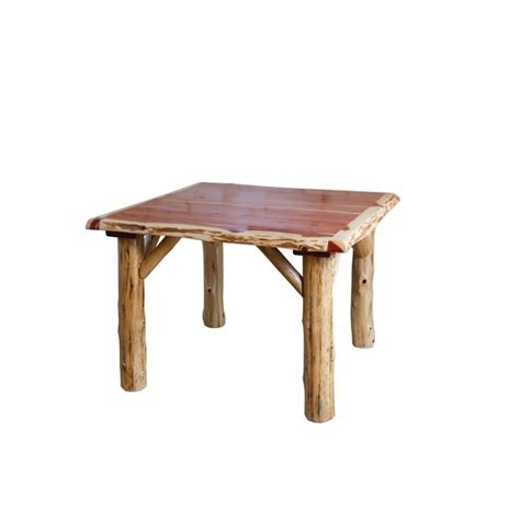rustic cedar log traditional square dining table with