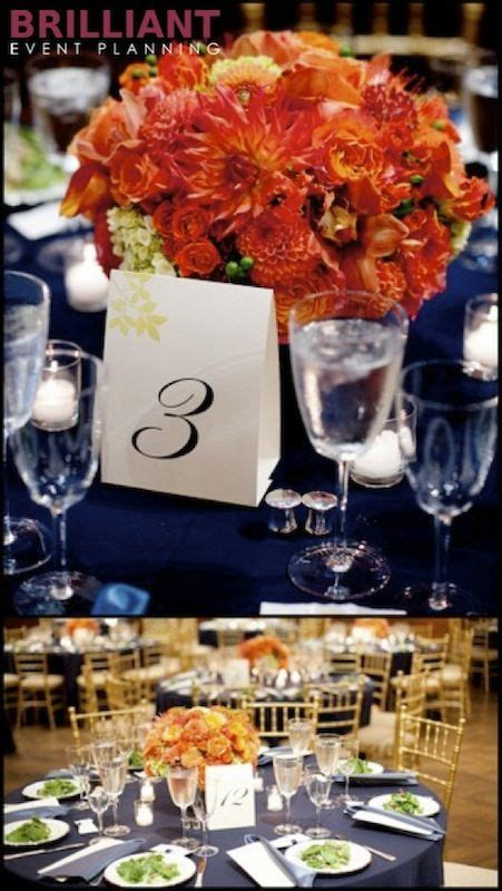 orange and blue decorations for weddings