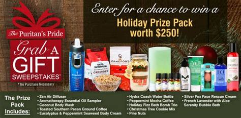 Puritan S Pride Sweepstakes - puritan s pride grab a gift sweepstakes ends 12 29