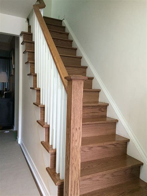 stairs pictures stairs white pickets new wood post in oak
