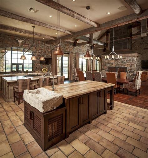 Salvaged Wood Kitchen Island ranch rustic kitchen houston by thompson custom homes