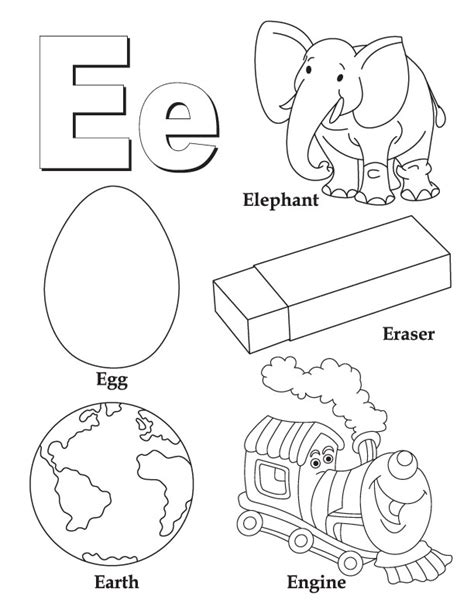 letter e coloring pages momjunction my a to z coloring book letter e coloring page kid