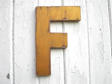 shabby chic wooden letter f gold initial nursery