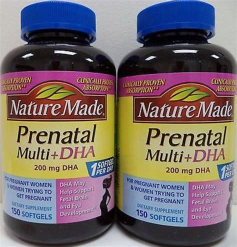 Vitamin Ibu Prenatal Nature Made Multi Dha 150 Softgels 2pk nature made prenatal multi dha 200mg 150 softgels each 31604027506 ebay