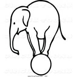 Larger Preview Circus Clipart Of A Sketched Black And White Elephant  sketch template