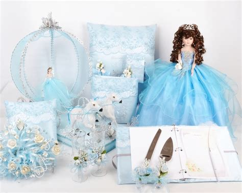 Cinderella Quinceanera Package Toasting Set, Doll, Pillows, Guest Book, Album, and Cake Server #