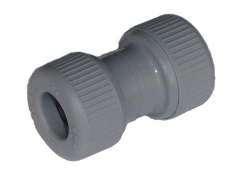 Plumbing Plastic Fittings by Pipeplus 15mm Grey Push Fit Coupler With Pipe Inserts Sealed Bag