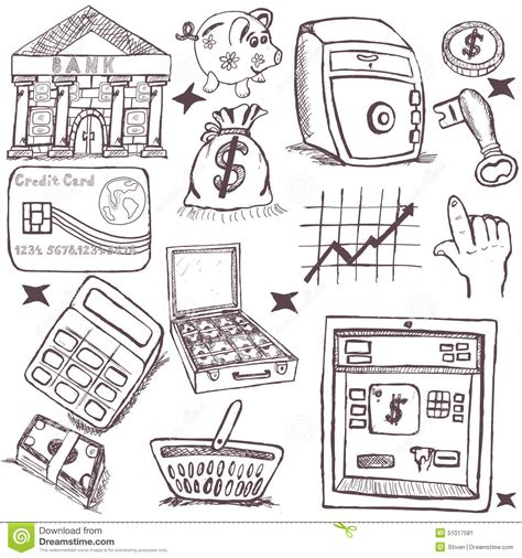doodle money doodle money icons stock vector image 51017581