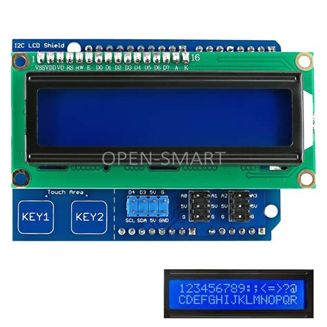 arduino uno i2c lcd tutorial lcd keypad shield i2c 1602 lcd shield with touch keys for
