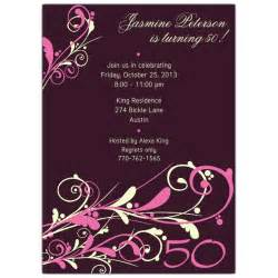 camia plum 50th birthday invitations paperstyle