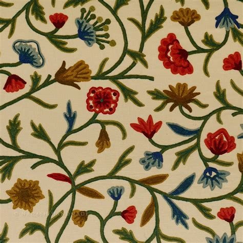 embroidered fabrics wular red crewel work hand embroidered cotton fabric