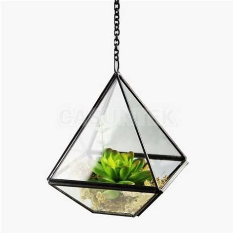 details  cm diamond shape glass hanging plant pot