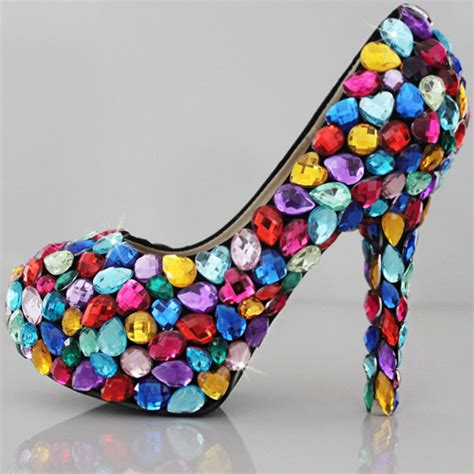 2015 colorful jeweled prom shoes high heels