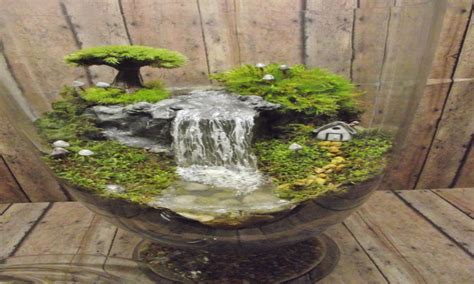 Chic dining room ideas, mini fairy garden with waterfall
