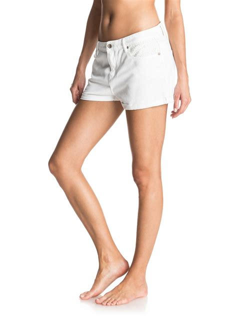 Lovely Lace Detail Shorts by Lovely Lace Cuffed White Denim Shorts Erjds03116