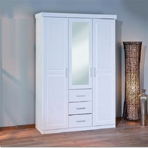 White Wardrobe Sale by Geraldo White Pine Finish Wardrobe With Mirror Door 21071
