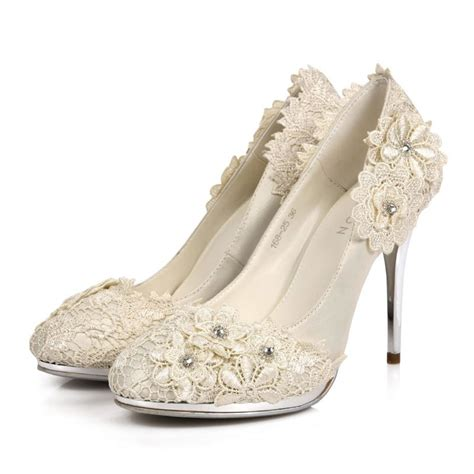 Flower Wedding Shoes by Stiletto Heel Platform Closed Toes Flower Ivory Wedding