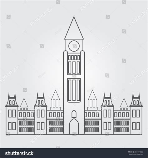 parliament canada outline drawing stock vector 384761506