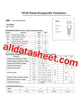 transistor a92 datasheet a92 datasheet pdf daya electric co ltd