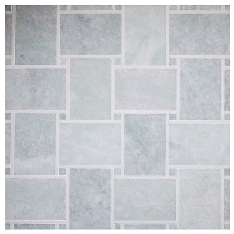 large basketweave mosaic tile polished ming green with thassos marble decorative outline