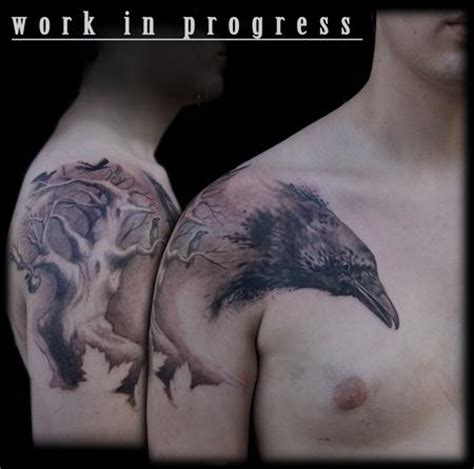 dead crow tattoo black and grey tree by maximilian