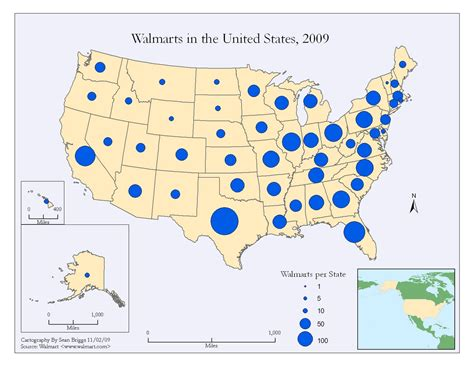 walmart map map catalog proportional circle map walmart 2007