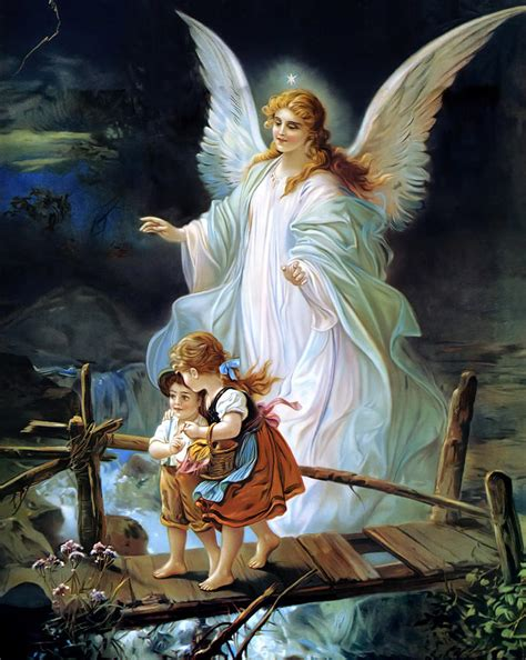 activity pattern znaczenie guardian angel and children crossing bridge painting by