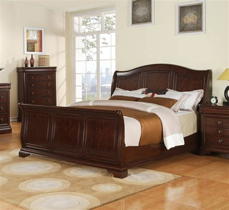 cherry wood sleigh bedroom set cameron sleigh bedroom set dark cherry finish
