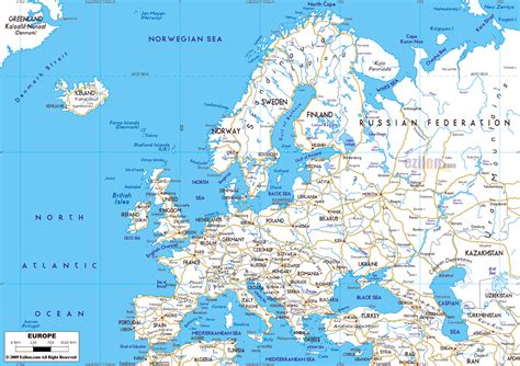 map of europe with cities maps of europe and european countries political maps administrative and road maps physical