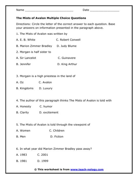 The Mists of Avalon Multiple Choice Questions