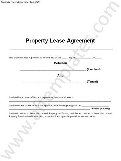 Property Lease Template 3 Best Lease Agreement Templates All Free Word Templates