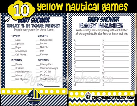nautical names nautical navy yellow baby shower package instant