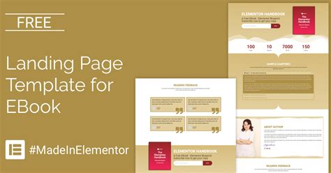 free landing page elementor template for ebook cakewp