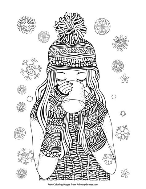 girl winter coloring page winter coloring pages ebook girl drinking hot chocolate