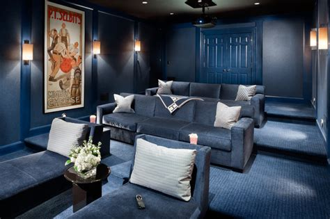 blue room theatre lucid blue transitional home theater new york by electronics design inc