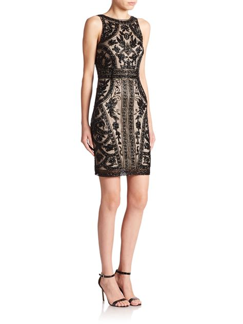 black beaded dress theia floral beaded cocktail dress in black black