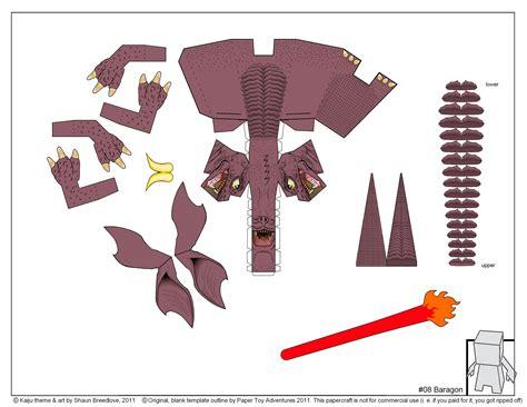 Papercraft Godzilla - godzilla baragon colouring pages