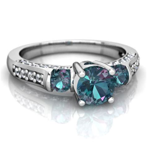 aquamarine and lab alexandrite deco ring c2632 waqca