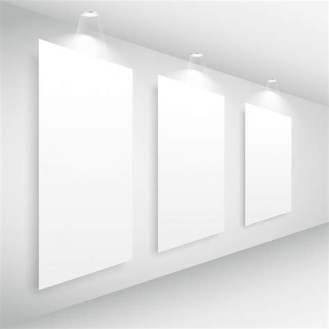 Gallery Interior With Picture Frame And Lights Vector