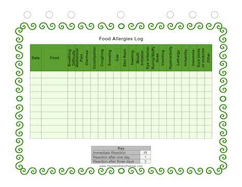 printable food allergy log food allergies log
