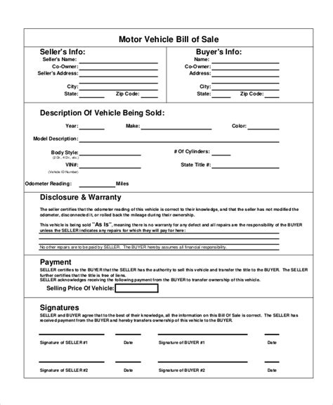 bill of sale automobile template motor vehicle bill of sale 7 free word pdf documents