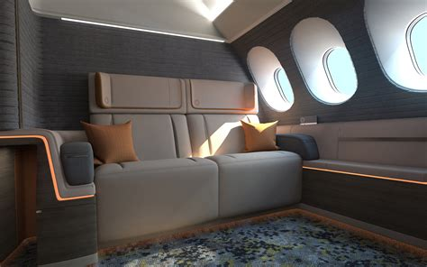 airplane cabin design features king size beds